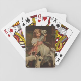 Puppies Curious About  Kitten, Playing Cards