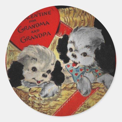 Puppies for Grandparents Valentine Round Stickers