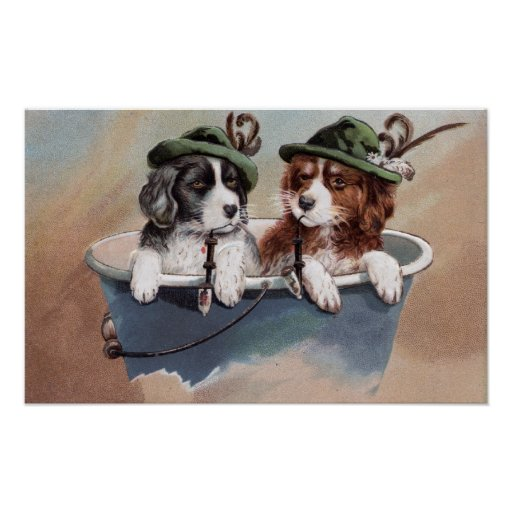 Puppies in Hats with Pipes Posters