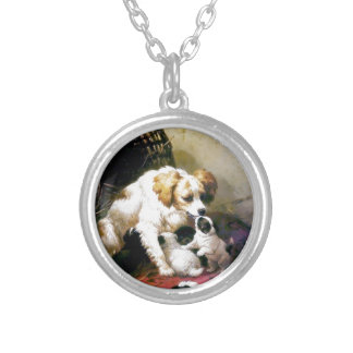 Puppies Mother Dog painting Pendants