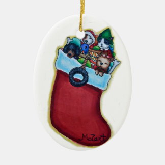 Puppies' Stocking Christmas Ornament