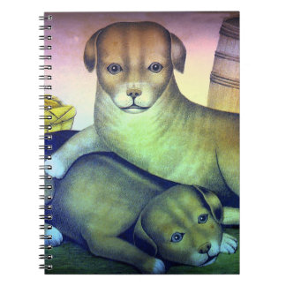 Puppies Vintage Illustration Spiral Notebook