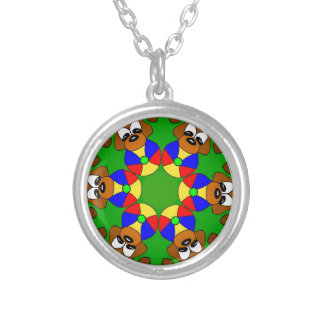 Puppies with colourful balls silver plated necklace