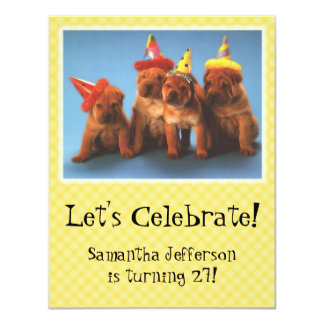 Puppies with Hats Birthday Invitations