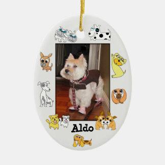 Puppy Add Photo Oval Ornament 18 Dog Cartoon