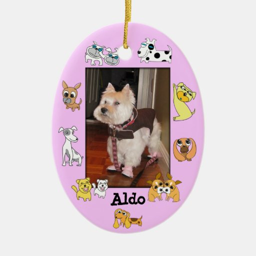 Puppy Add Photo Oval Ornament 18 Dog Cartoon Color