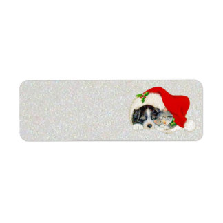 Puppy and Kitten Sleeping Under Santa's Hat Return Address Label