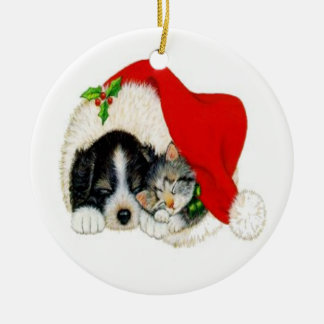 Puppy and Kitty Christmas Ornament