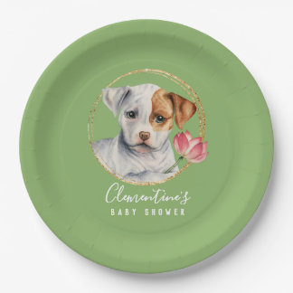 Puppy and Lotus with Faux Gold Spring Baby Shower Paper Plate