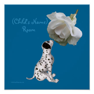 Puppy And Rose Kids Room Personalized Poster