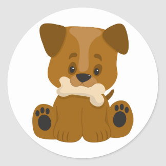 Puppy Big Paws Sitting Classic Round Sticker
