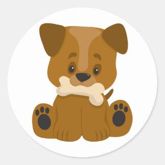 Puppy Big Paws Sitting Round Sticker