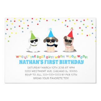 Puppy Birthday party invitation, dogs out party Card