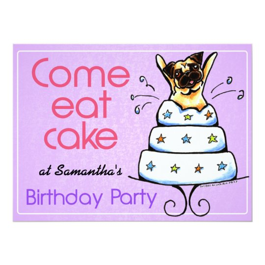 Puppy Birthday Party Pug Cake Girl Off-Leash Art™ Card