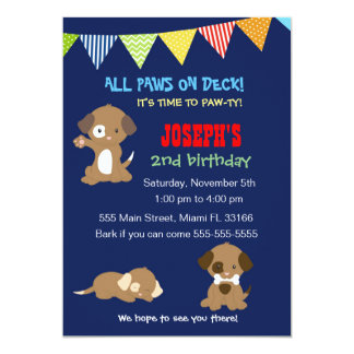 Puppy Birthday Photo Invitation Girl Pink