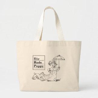 Puppy Biting Cat's Dress Tote Bags