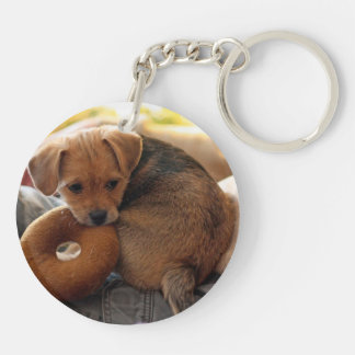 puppy biting her toy Double-Sided round acrylic key ring