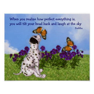 Puppy Butterflies Inspirational Quote Poster