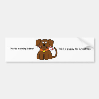 Puppy Candy Cane Bumper Sticker