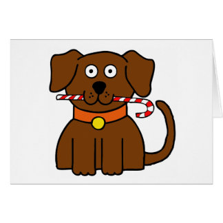 Puppy Candy Cane Card