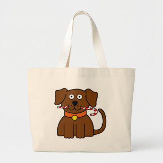 Puppy Candy Cane Large Tote Bag