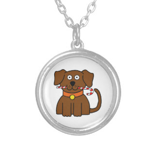 Puppy Candy Cane Silver Plated Necklace