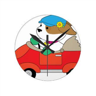 Puppy Car Round Clock