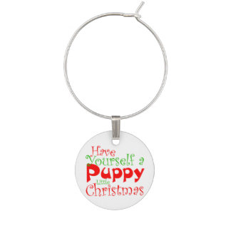 Puppy Christmas Holiday Wine Charm