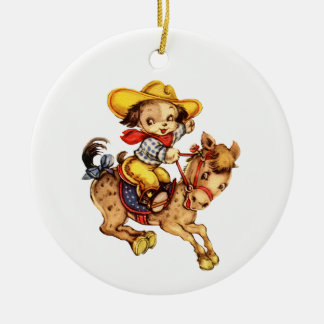 Puppy Cowboy on His Horse Ceramic Ornament