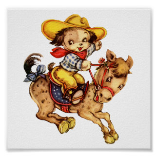 Puppy Cowboy on His Horse Print