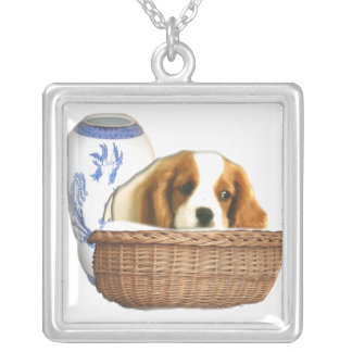 Puppy dog and basket silver plated necklace