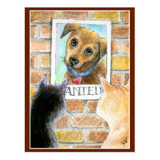 Puppy dog and cat cute art post card