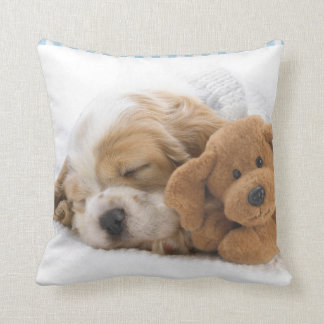 Puppy Dog and Teddy Bear Throw Pillow