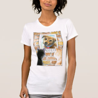 """Puppy dog, cats, """"wanted"""" poster tee shirt"""