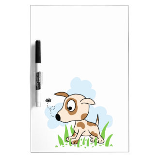 Puppy Dog Chasing a Fly Dry Erase Board