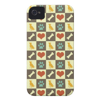 Puppy dog heart bone checkered pattern pet lover iPhone 4 cover