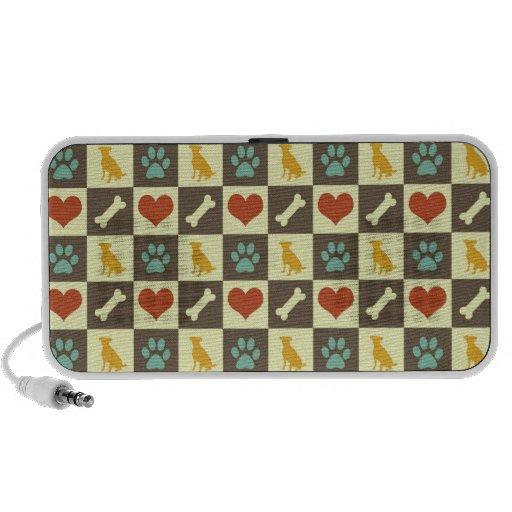 Puppy dog heart bone checkered pattern pet lover mp3 speakers