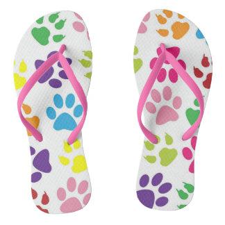 Puppy Dog Paw Print Flip Flops