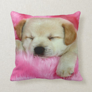 Puppy Dog Sleeping on Pink Throw Pillow