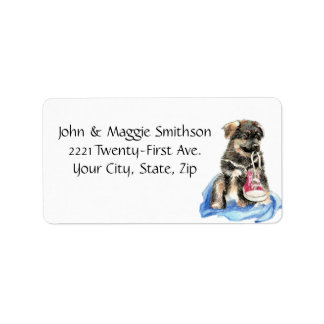 Puppy Dog with Running Shoe art Address label