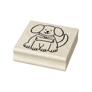 Puppy Dog Wooden Block Mounted Rubber Stamp