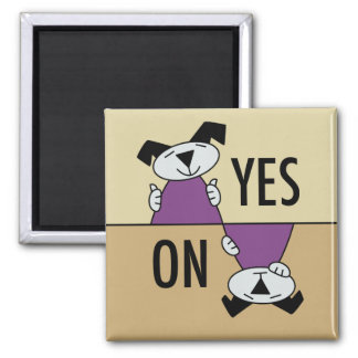Puppy Dog Yes No Square Magnet