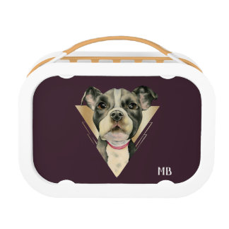 """Puppy Eyes"" Pit Bull Dog Painting 4 with initials Lunch Box"