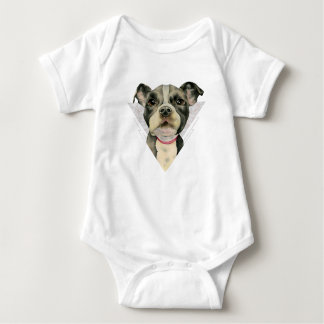 """Puppy Eyes"" Pit Bull Dog Watercolor Painting 2 Baby Bodysuit"