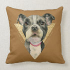 """Puppy Eyes"" Pit Bull Dog Watercolor Painting 3 Cushion"