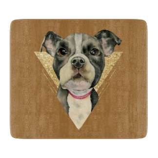 """Puppy Eyes"" Pit Bull Dog Watercolor Painting 3 Cutting Board"