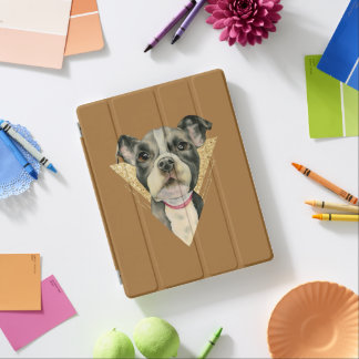 """Puppy Eyes"" Pit Bull Dog Watercolor Painting 3 iPad Cover"