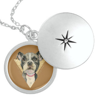 """""""Puppy Eyes"""" Pit Bull Dog Watercolor Painting 3 Locket Necklace"""