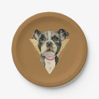 """Puppy Eyes"" Pit Bull Dog Watercolor Painting 3 Paper Plate"