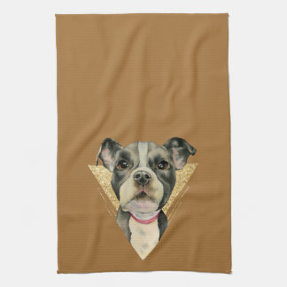 """""""Puppy Eyes"""" Pit Bull Dog Watercolor Painting 3 Tea Towel"""